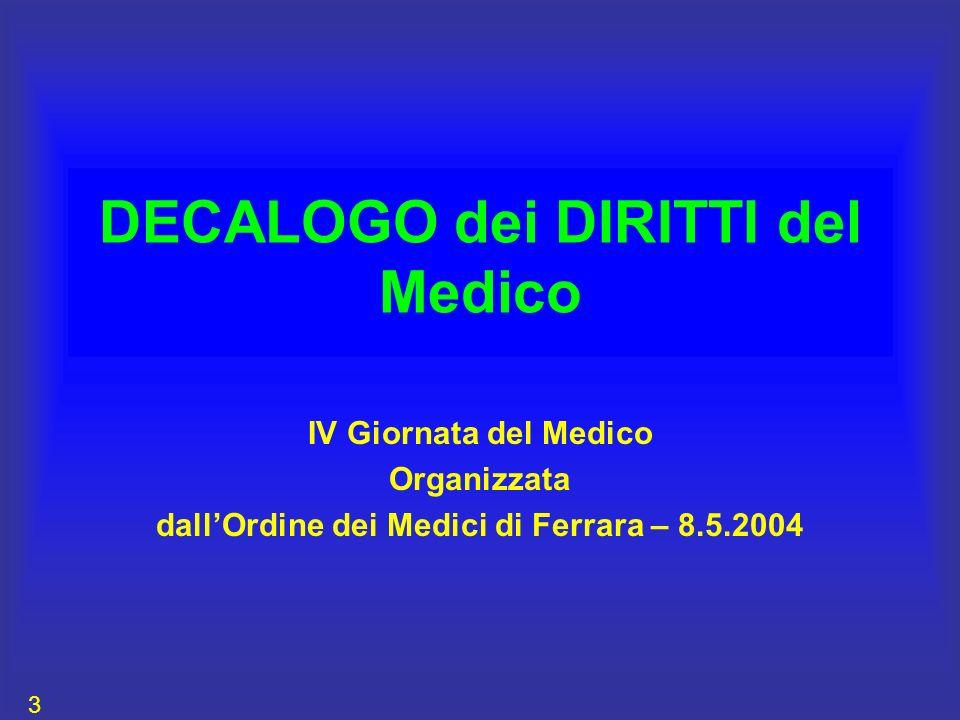DECALOGO dei DIRITTI del Medico IV Giornata del Medico Organizzata dallOrdine dei Medici di Ferrara – 8.5.2004 3