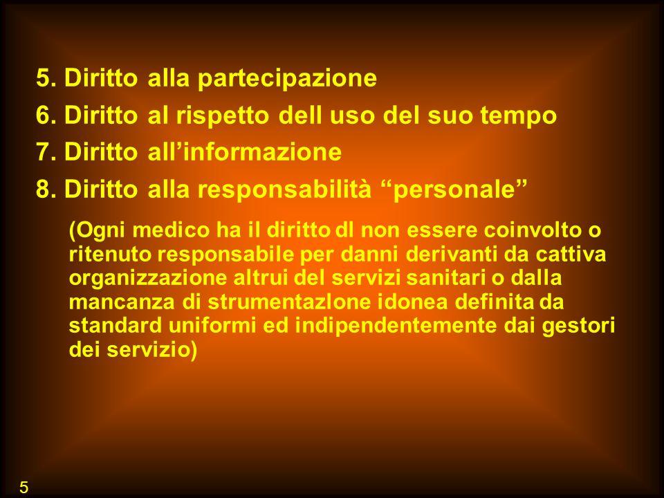5 5. Diritto alla partecipazione 6. Diritto al rispetto dell uso del suo tempo 7. Diritto allinformazione 8. Diritto alla responsabilità personale (Og