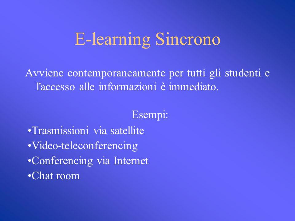 E-learning asincrono Il training avviene in diversi periodi di tempo e gli studenti possono accedere alle informazioni secondo le proprie comodità.