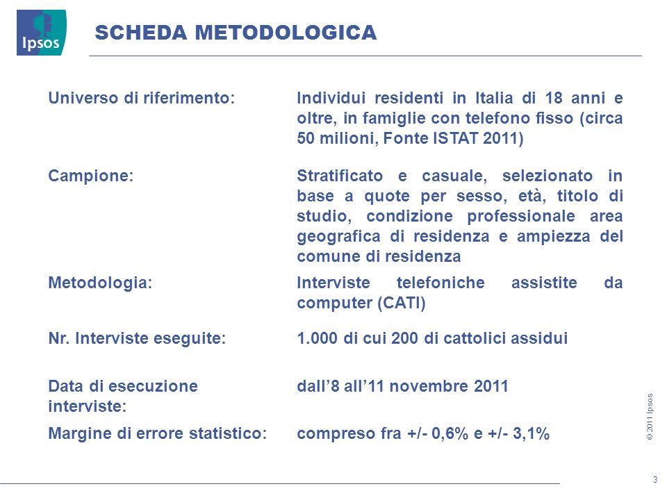 24 © 2011 Ipsos Ma secondo lei su questi temi i cittadini cattolici hanno posizioni comuni o diverse.
