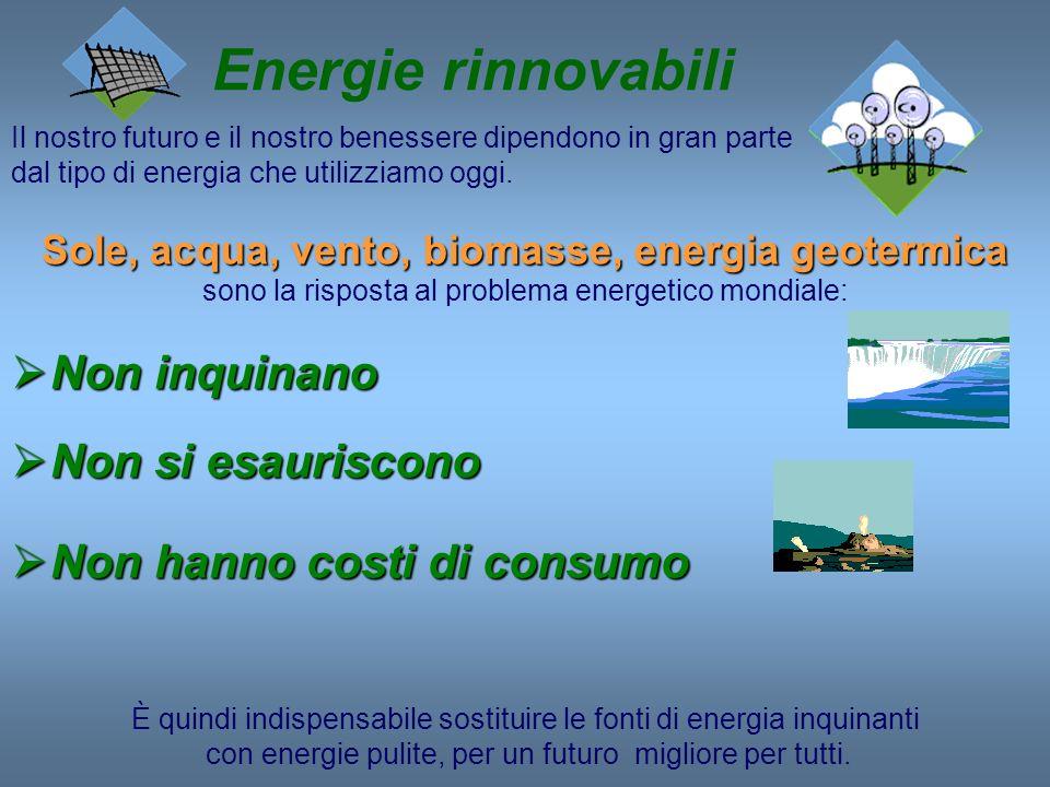 Energie rinnovabili Il nostro futuro e il nostro benessere dipendono in gran parte dal tipo di energia che utilizziamo oggi. Sole, acqua, vento, bioma