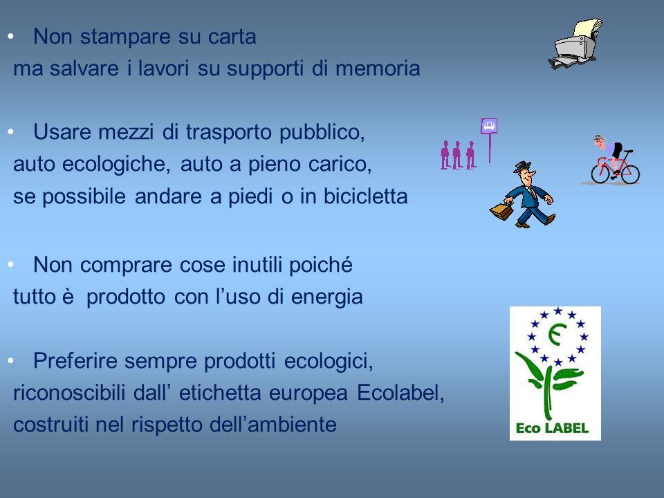 Non stampare su carta ma salvare i lavori su supporti di memoria Usare mezzi di trasporto pubblico, auto ecologiche, auto a pieno carico, se possibile
