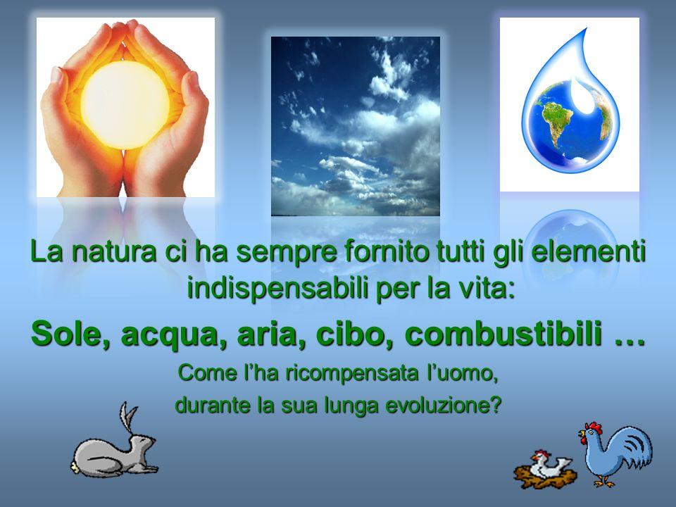 La natura ci ha sempre fornito tutti gli elementi indispensabili per la vita: Sole, acqua, aria, cibo, combustibili … Come lha ricompensata luomo, dur