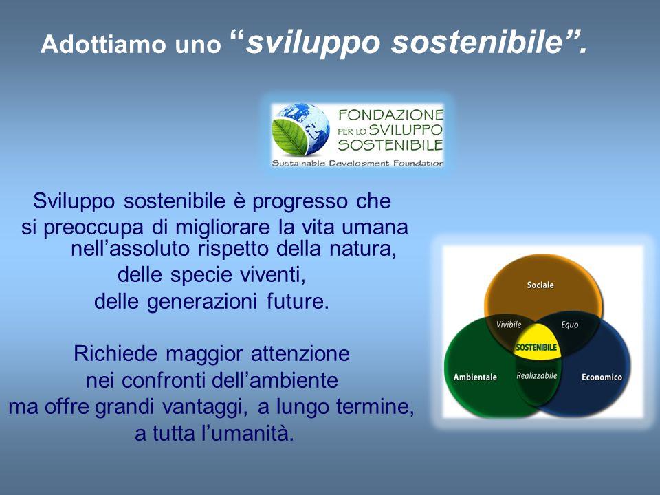 Adottiamo unosviluppo sostenibile. Sviluppo sostenibile è progresso che si preoccupa di migliorare la vita umana nellassoluto rispetto della natura, d