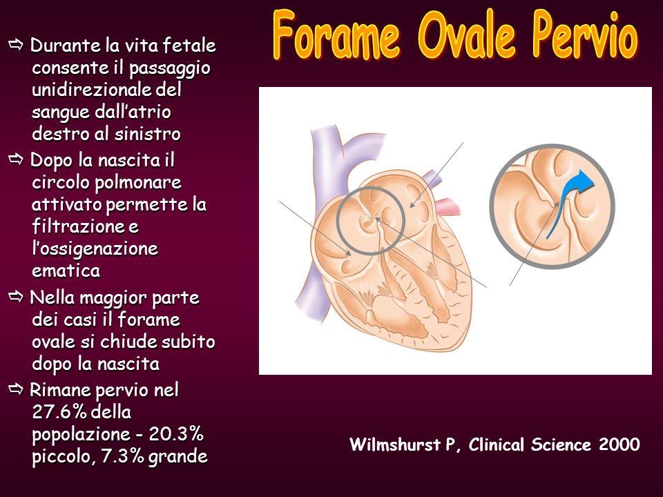 PFO Left atrium Right atrium Durante la vita fetale consente il passaggio unidirezionale del sangue dallatrio destro al sinistro Durante la vita fetal