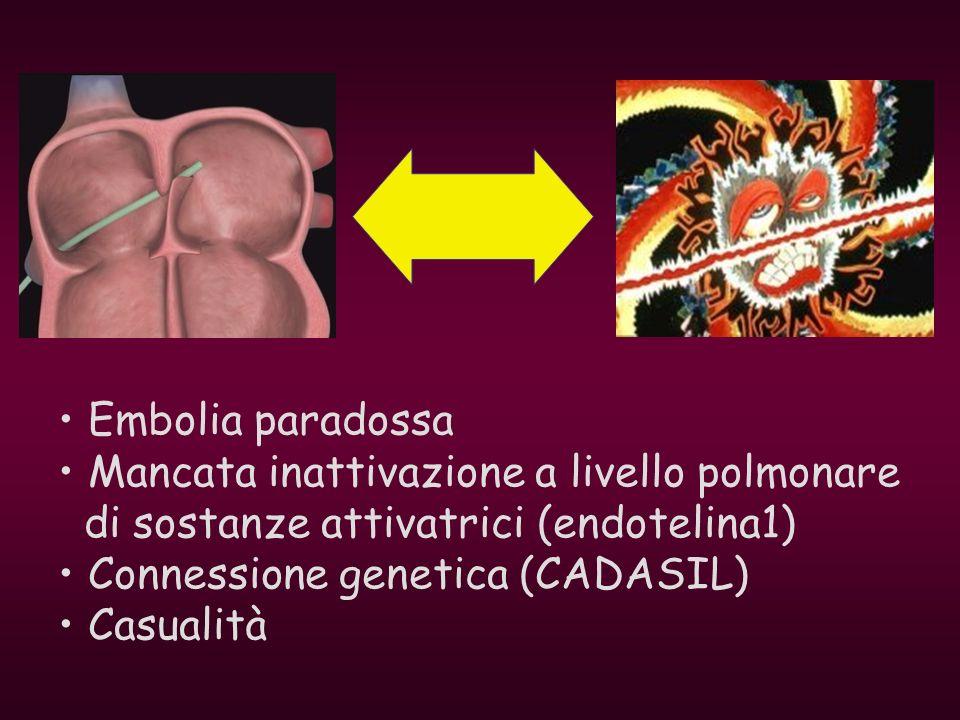 Embolia paradossa Mancata inattivazione a livello polmonare di sostanze attivatrici (endotelina1) Connessione genetica (CADASIL) Casualità