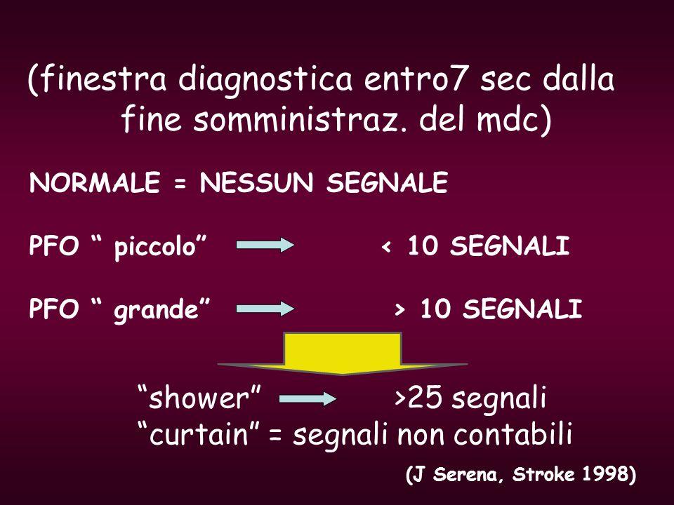 (finestra diagnostica entro7 sec dalla fine somministraz. del mdc) NORMALE = NESSUN SEGNALE PFO piccolo < 10 SEGNALI PFO grande > 10 SEGNALI shower >2