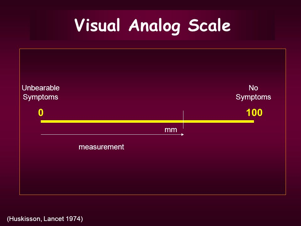 Visual Analog Scale (Huskisson, Lancet 1974) 0100 mm No Symptoms Unbearable Symptoms measurement