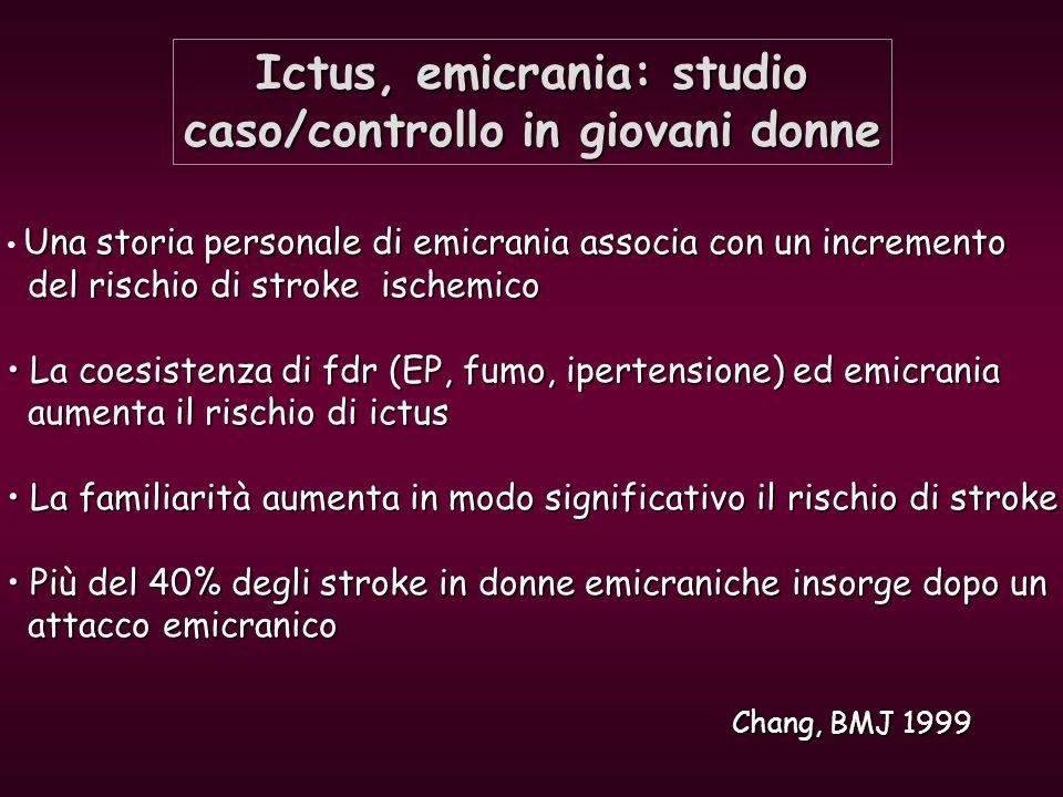 Ictus, emicrania: studio caso/controllo in giovani donne Chang, BMJ 1999 Una storia personale di emicrania associa con un incremento del rischio di st