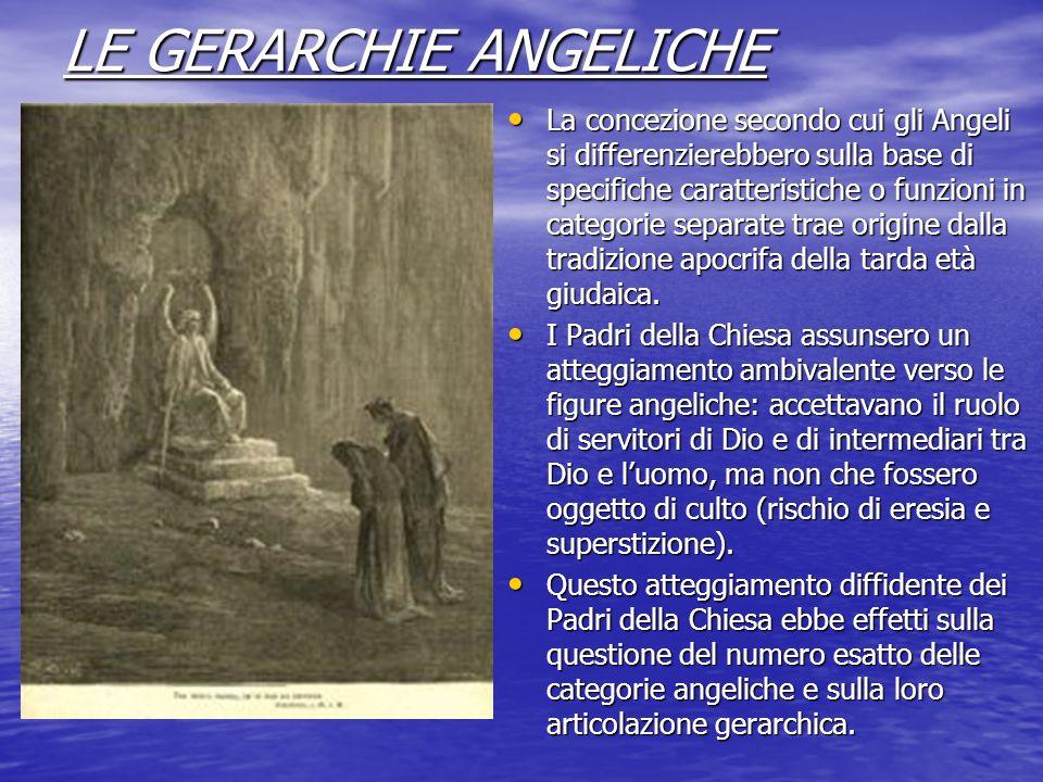 LE GERARCHIE ANGELICHE La concezione secondo cui gli Angeli si differenzierebbero sulla base di specifiche caratteristiche o funzioni in categorie sep