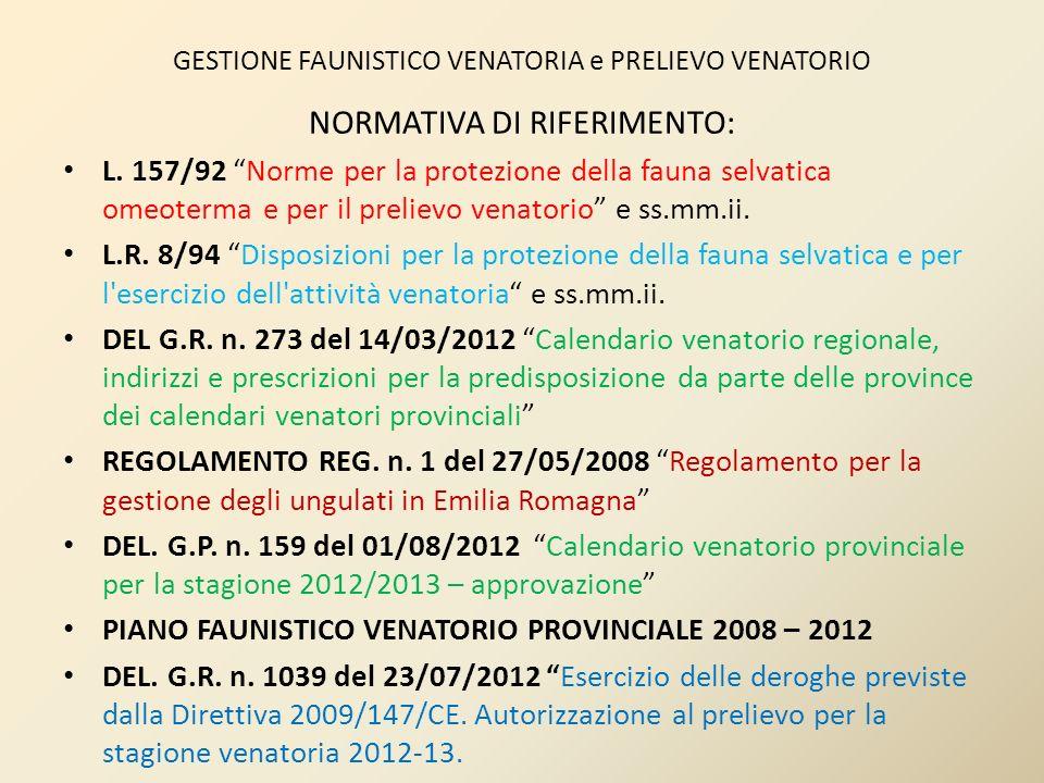 GESTIONE FAUNISTICO VENATORIA e PRELIEVO VENATORIO NORMATIVA DI RIFERIMENTO: L. 157/92 Norme per la protezione della fauna selvatica omeoterma e per i