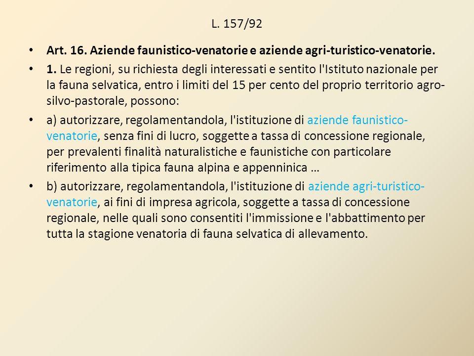 L. 157/92 Art. 16. Aziende faunistico-venatorie e aziende agri-turistico-venatorie. 1. Le regioni, su richiesta degli interessati e sentito l'Istituto