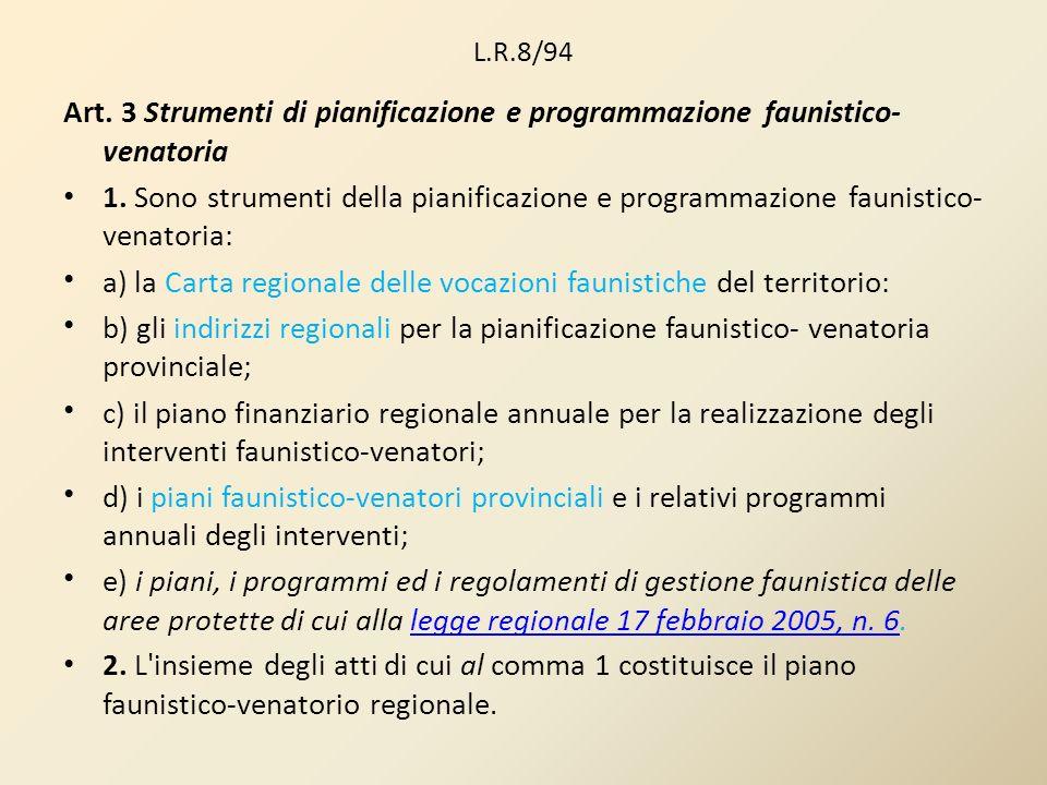 L.R.8/94 Art. 3 Strumenti di pianificazione e programmazione faunistico- venatoria 1. Sono strumenti della pianificazione e programmazione faunistico-