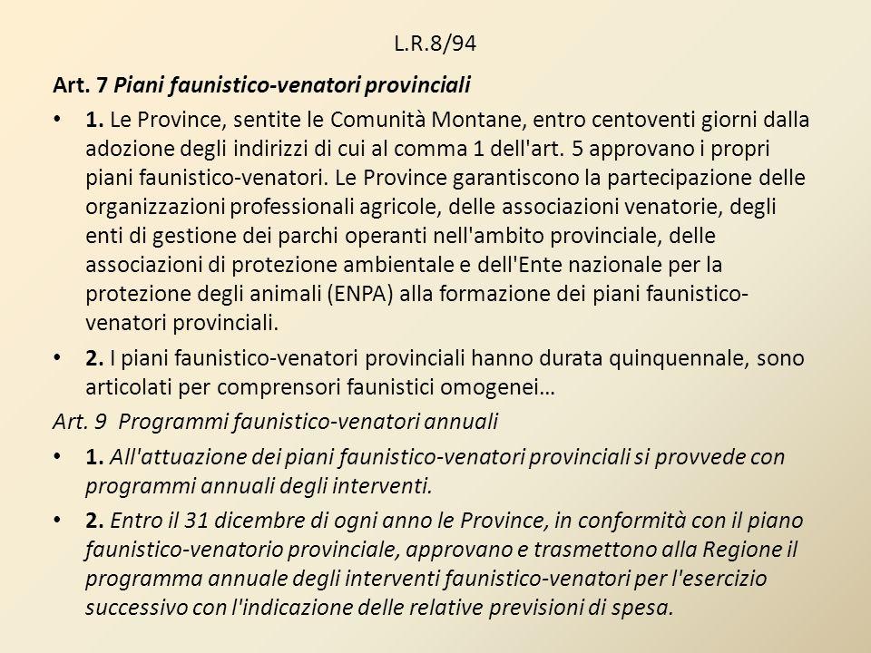 L.R.8/94 Art. 7 Piani faunistico-venatori provinciali 1. Le Province, sentite le Comunità Montane, entro centoventi giorni dalla adozione degli indiri