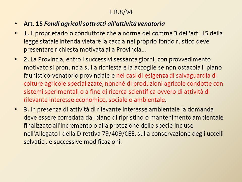 L.R.8/94 Art. 15 Fondi agricoli sottratti all'attività venatoria 1. Il proprietario o conduttore che a norma del comma 3 dell'art. 15 della legge stat