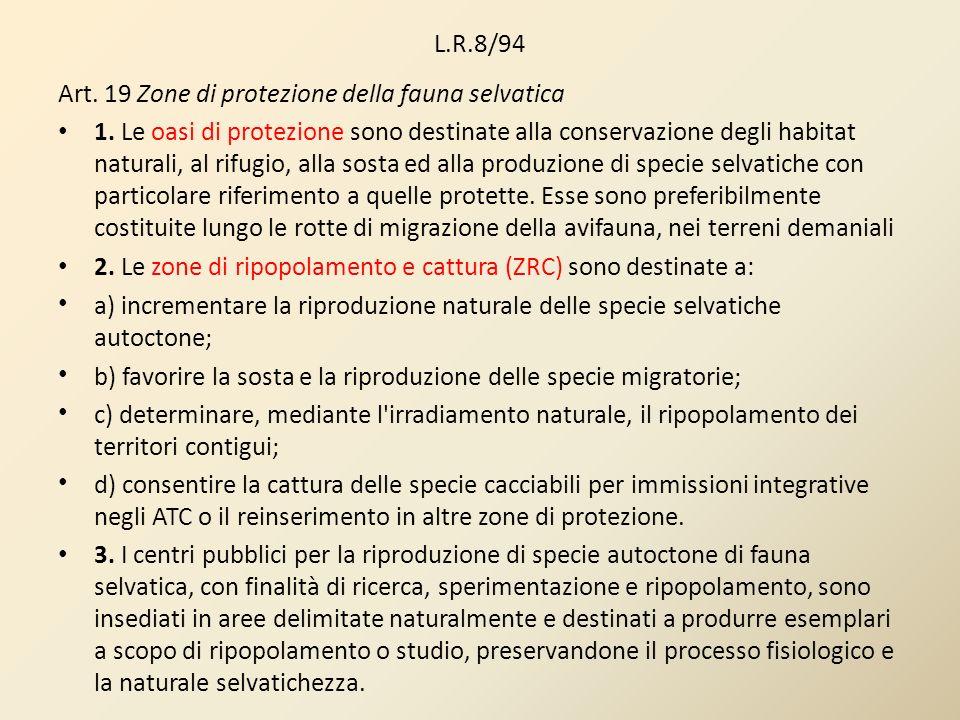 L.R.8/94 Art. 19 Zone di protezione della fauna selvatica 1. Le oasi di protezione sono destinate alla conservazione degli habitat naturali, al rifugi