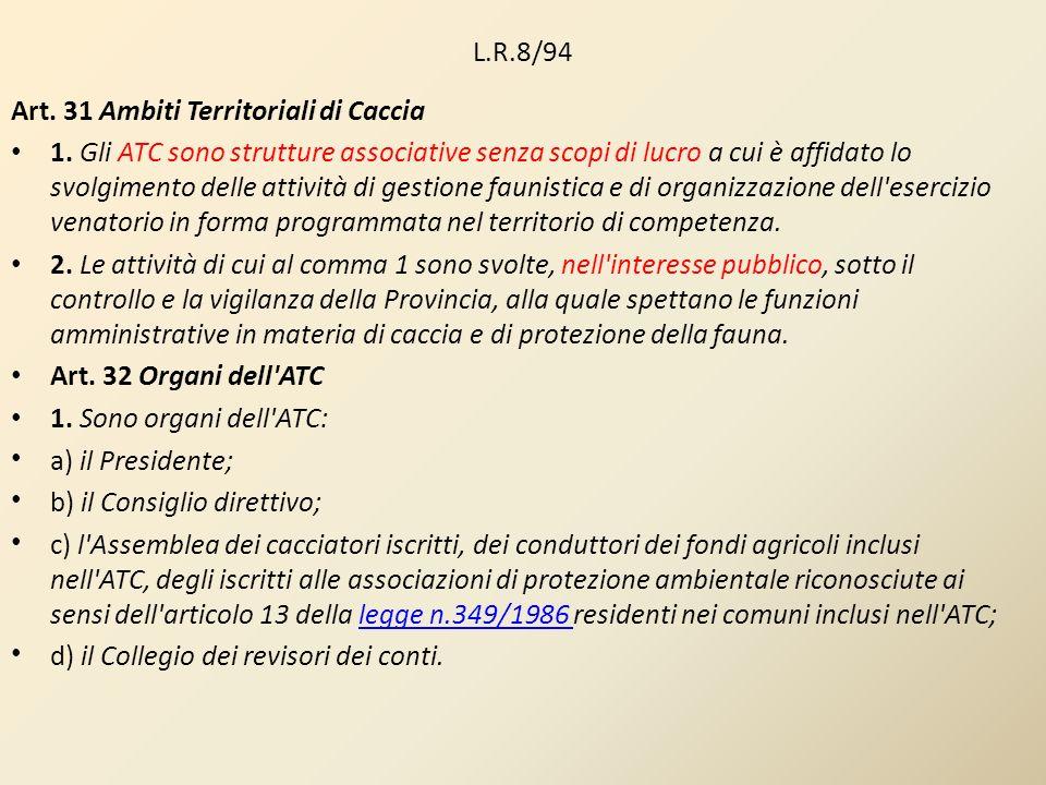 L.R.8/94 Art. 31 Ambiti Territoriali di Caccia 1. Gli ATC sono strutture associative senza scopi di lucro a cui è affidato lo svolgimento delle attivi