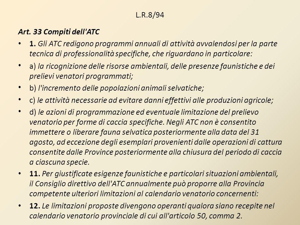 L.R.8/94 Art. 33 Compiti dell'ATC 1. Gli ATC redigono programmi annuali di attività avvalendosi per la parte tecnica di professionalità specifiche, ch