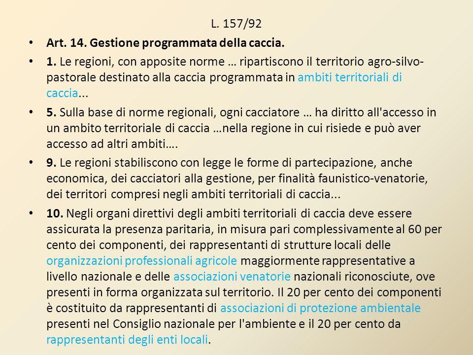 L. 157/92 Art. 14. Gestione programmata della caccia. 1. Le regioni, con apposite norme … ripartiscono il territorio agro-silvo- pastorale destinato a