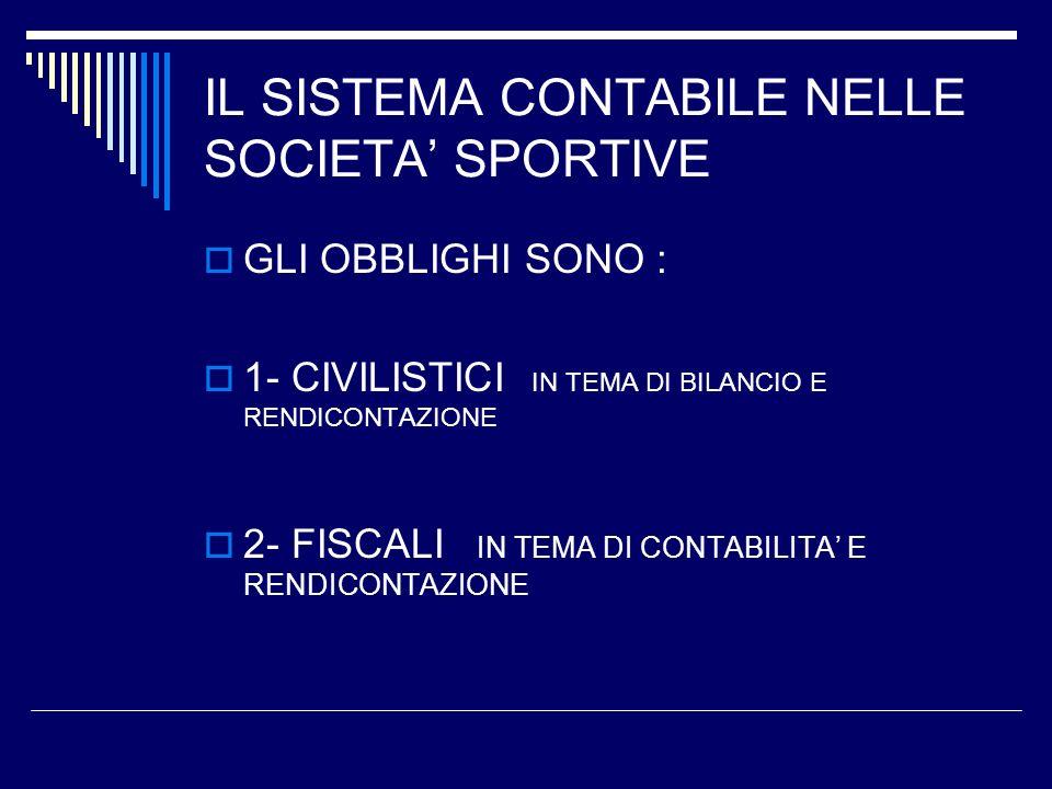 IL SISTEMA CONTABILE NELLE SOCIETA SPORTIVE GLI OBBLIGHI SONO : 1- CIVILISTICI IN TEMA DI BILANCIO E RENDICONTAZIONE 2- FISCALI IN TEMA DI CONTABILITA E RENDICONTAZIONE
