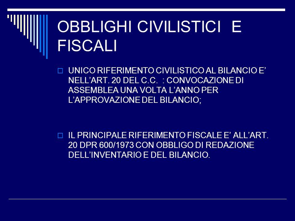 OBBLIGHI CIVILISTICI E FISCALI UNICO RIFERIMENTO CIVILISTICO AL BILANCIO E NELLART.