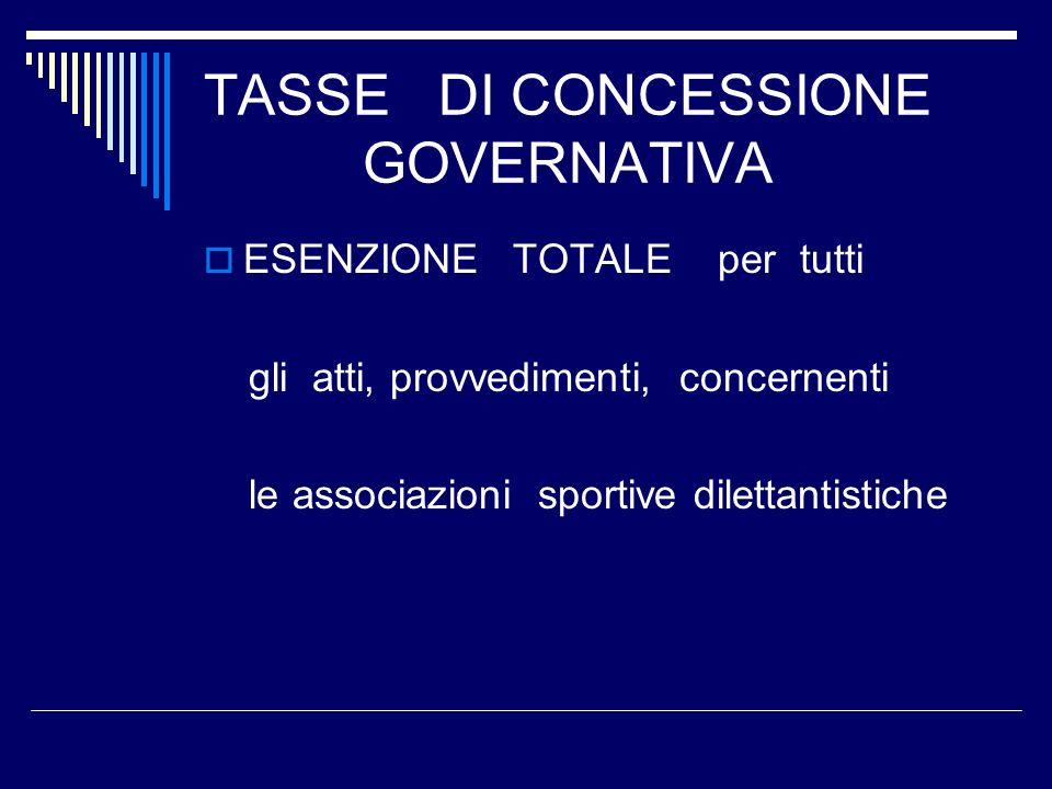 TASSE DI CONCESSIONE GOVERNATIVA ESENZIONE TOTALE per tutti gli atti, provvedimenti, concernenti le associazioni sportive dilettantistiche