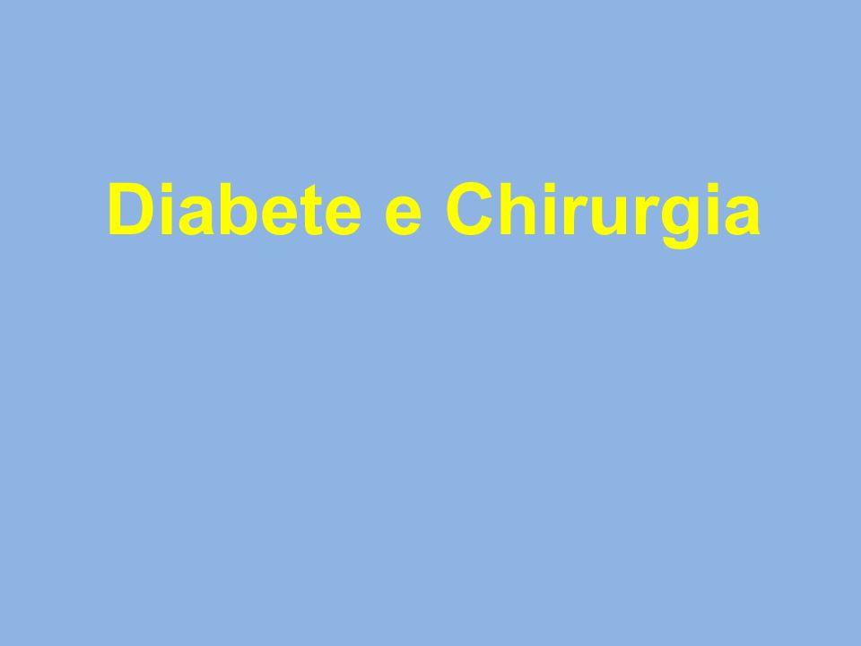 Schema preoperatorio infusionale a due vie GlicemiaGlucosata 10% ml/h+KCL 10 mEq Sol.fisiol.250 cc+ 15 UI insulina pronta ml/h controllo < 80100 ml/hSospendere infusione 1 ora 80-100100 ml/h25 ml/h1 ora 101-180100 ml/h50 ml/h1 ora 181-250100 ml/h66 ml/h1 ora > 250 100 ml/h83 ml/h1 ora