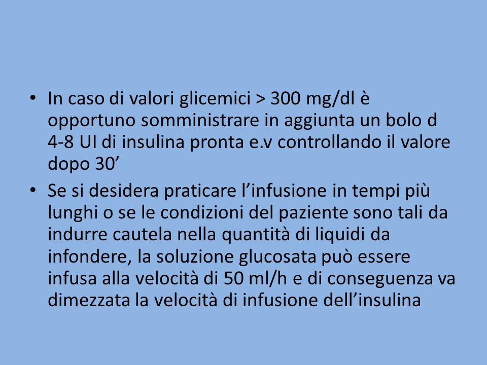 In caso di valori glicemici > 300 mg/dl è opportuno somministrare in aggiunta un bolo d 4-8 UI di insulina pronta e.v controllando il valore dopo 30 Se si desidera praticare linfusione in tempi più lunghi o se le condizioni del paziente sono tali da indurre cautela nella quantità di liquidi da infondere, la soluzione glucosata può essere infusa alla velocità di 50 ml/h e di conseguenza va dimezzata la velocità di infusione dellinsulina