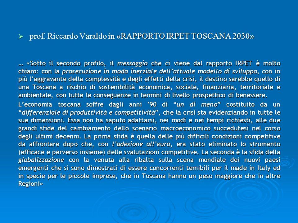 prof.Riccardo Varaldo in «RAPPORTO IRPET TOSCANA 2030» prof.