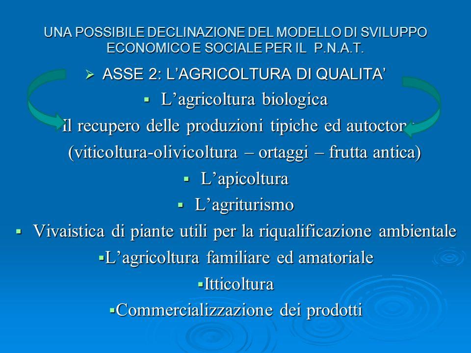 UNA POSSIBILE DECLINAZIONE DEL MODELLO DI SVILUPPO ECONOMICO E SOCIALE PER IL P.N.A.T.