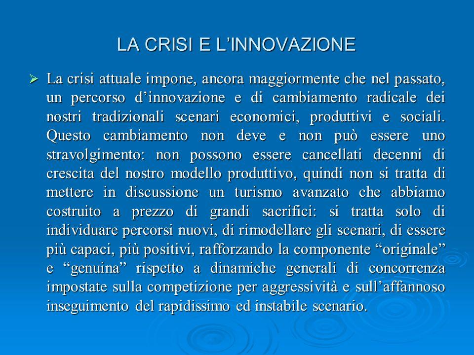 LA CRISI E LINNOVAZIONE La crisi attuale impone, ancora maggiormente che nel passato, un percorso dinnovazione e di cambiamento radicale dei nostri tradizionali scenari economici, produttivi e sociali.