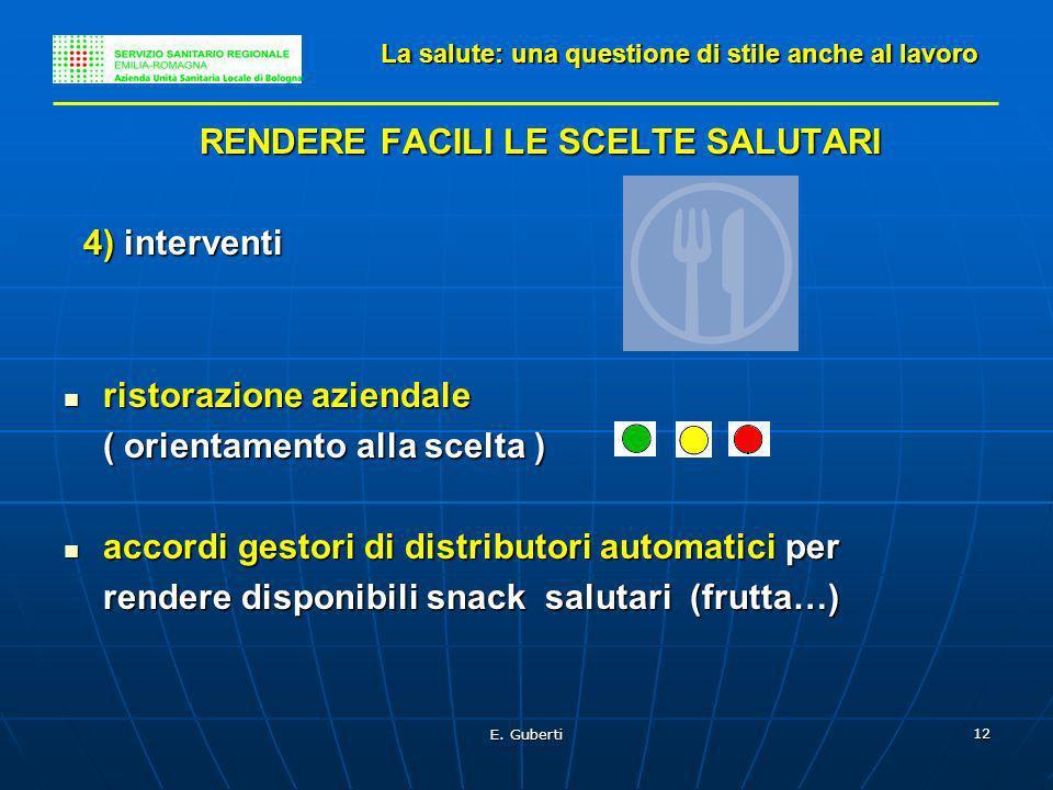 E. Guberti 12 RENDERE FACILI LE SCELTE SALUTARI 4) interventi 4) interventi ristorazione aziendale ristorazione aziendale ( orientamento alla scelta )