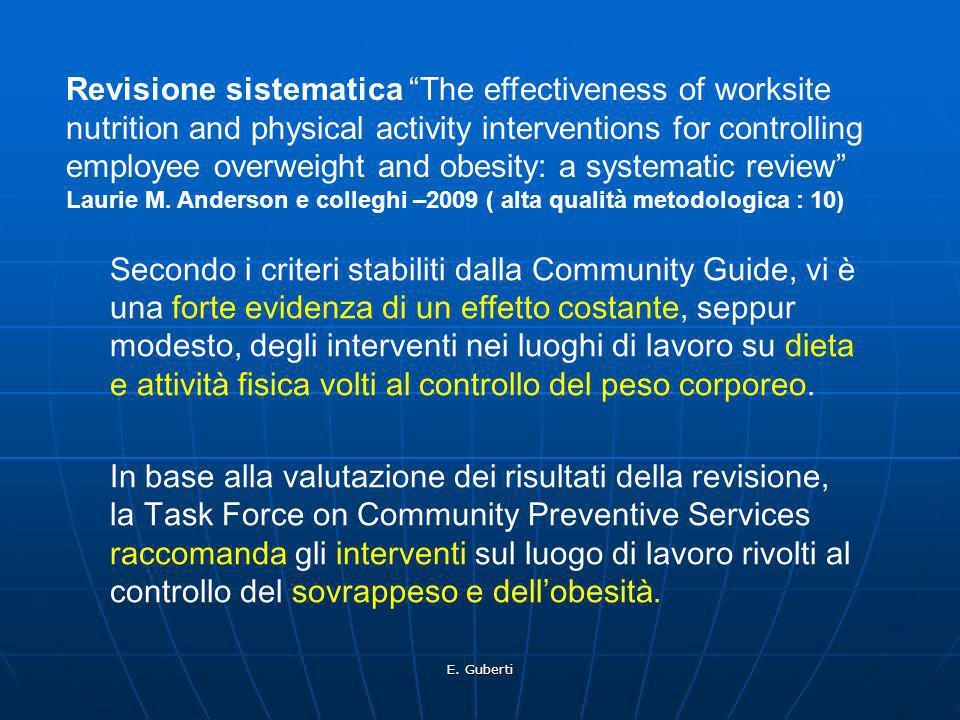 E. Guberti Secondo i criteri stabiliti dalla Community Guide, vi è una forte evidenza di un effetto costante, seppur modesto, degli interventi nei luo