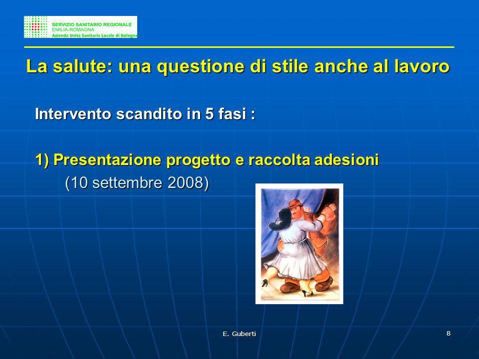 E. Guberti 8 La salute: una questione di stile anche al lavoro La salute: una questione di stile anche al lavoro Intervento scandito in 5 fasi : Inter