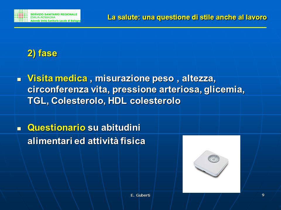 E. Guberti 9 La salute: una questione di stile anche al lavoro 2) fase Visita medica, misurazione peso, altezza, circonferenza vita, pressione arterio