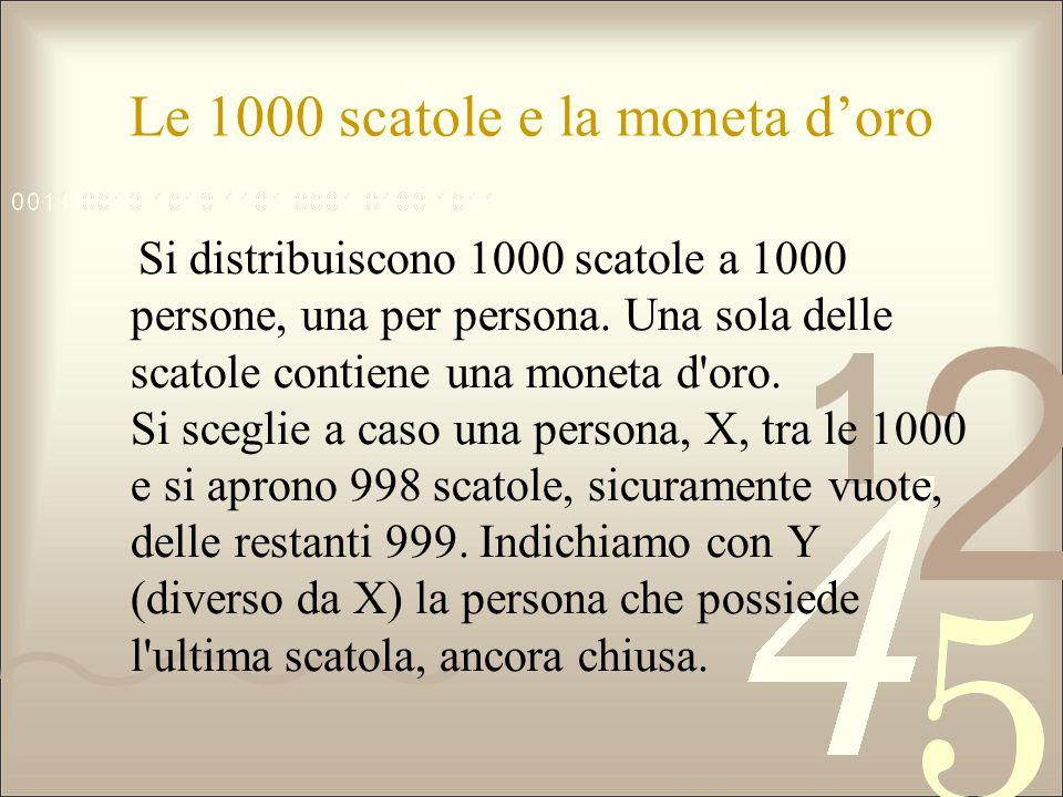 Le 1000 scatole e la moneta doro Si distribuiscono 1000 scatole a 1000 persone, una per persona. Una sola delle scatole contiene una moneta d'oro. Si