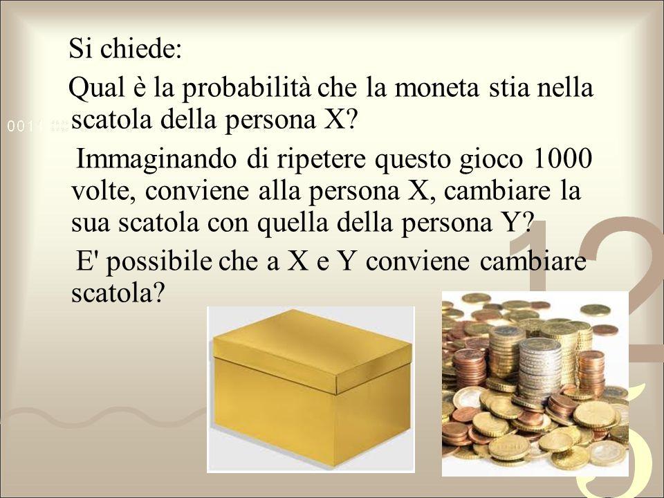 Si chiede: Qual è la probabilità che la moneta stia nella scatola della persona X? Immaginando di ripetere questo gioco 1000 volte, conviene alla pers