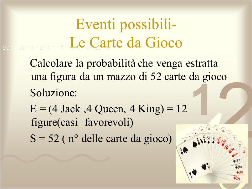 Eventi possibili- Le Carte da Gioco Calcolare la probabilità che venga estratta una figura da un mazzo di 52 carte da gioco Soluzione: E = (4 Jack,4 Q