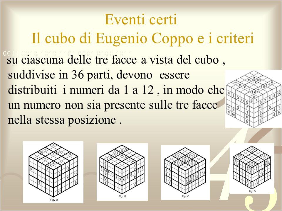 Eventi certi Il cubo di Eugenio Coppo e i criteri su ciascuna delle tre facce a vista del cubo, suddivise in 36 parti, devono essere distribuiti i num
