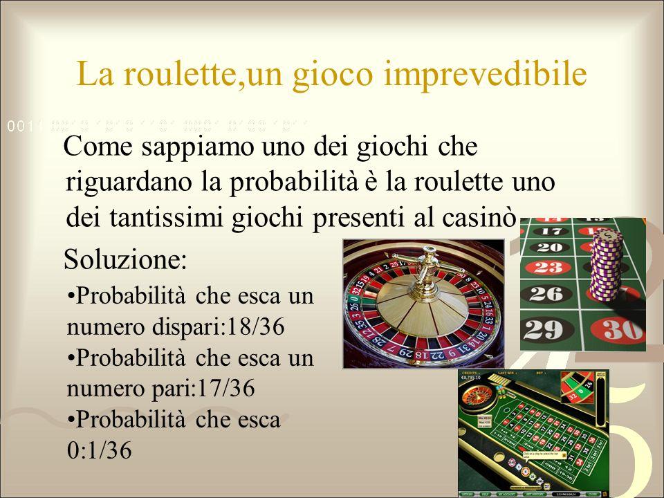 La roulette,un gioco imprevedibile Come sappiamo uno dei giochi che riguardano la probabilità è la roulette uno dei tantissimi giochi presenti al casi