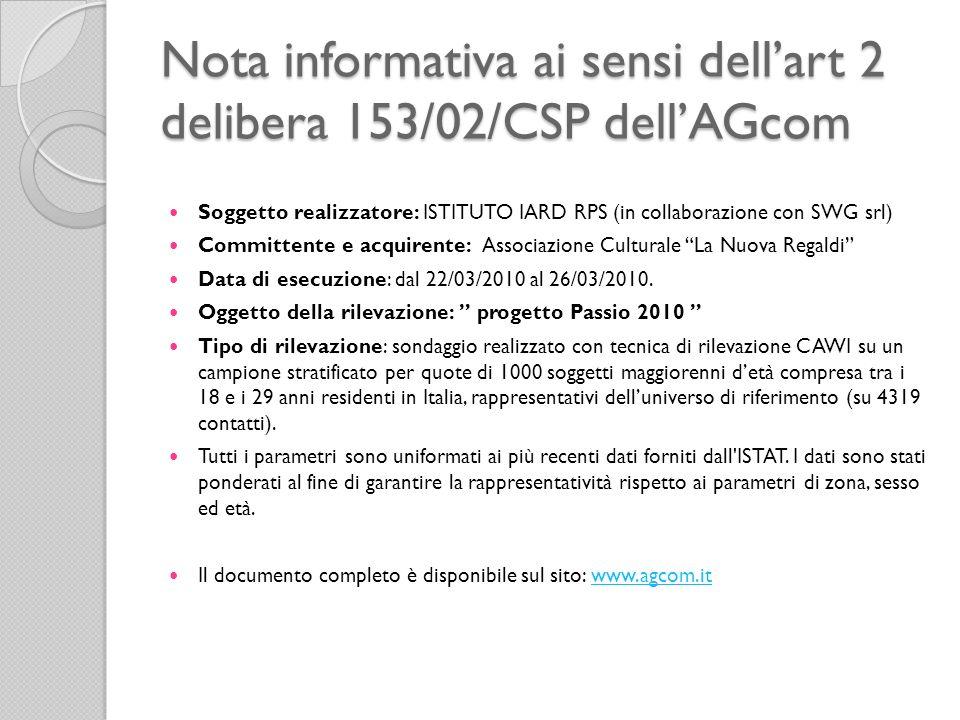 Nota informativa ai sensi dellart 2 delibera 153/02/CSP dellAGcom Soggetto realizzatore: ISTITUTO IARD RPS (in collaborazione con SWG srl) Committente
