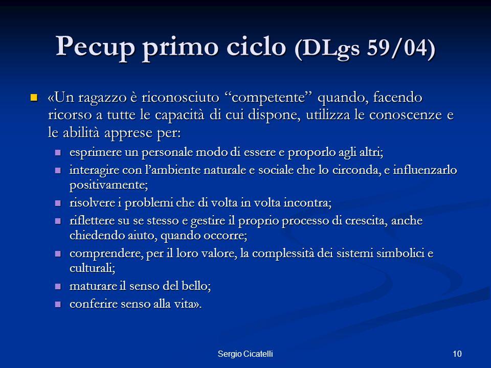 10Sergio Cicatelli Pecup primo ciclo (DLgs 59/04) «Un ragazzo è riconosciuto competente quando, facendo ricorso a tutte le capacità di cui dispone, ut