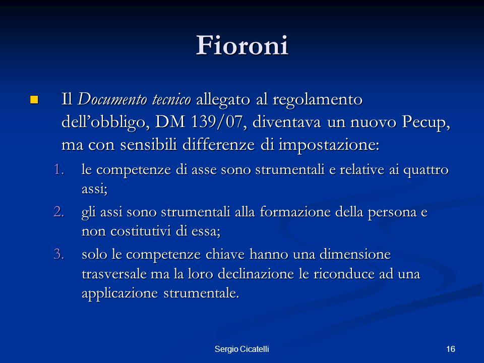 16Sergio Cicatelli Fioroni Il Documento tecnico allegato al regolamento dellobbligo, DM 139/07, diventava un nuovo Pecup, ma con sensibili differenze