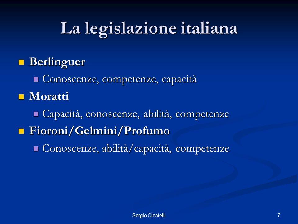 7Sergio Cicatelli La legislazione italiana Berlinguer Berlinguer Conoscenze, competenze, capacità Conoscenze, competenze, capacità Moratti Moratti Cap