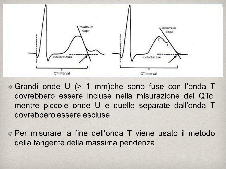 Grandi onde U (> 1 mm)che sono fuse con londa T dovrebbero essere incluse nella misurazione del QTc, mentre piccole onde U e quelle separate dallonda