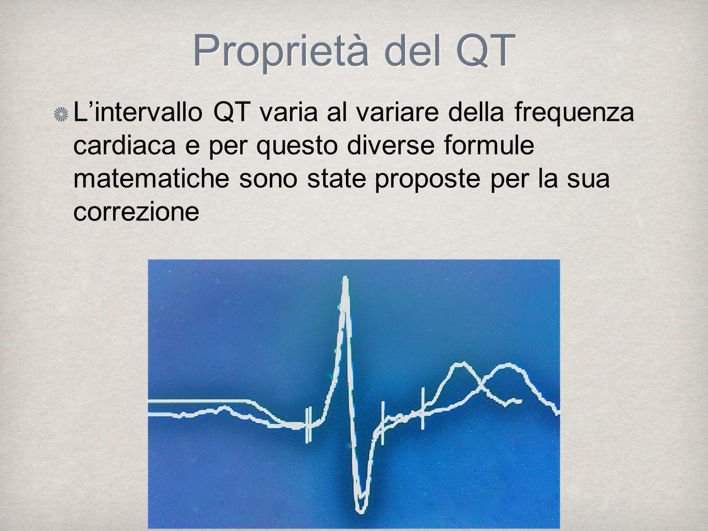 Lintervallo QT varia al variare della frequenza cardiaca e per questo diverse formule matematiche sono state proposte per la sua correzione Proprietà