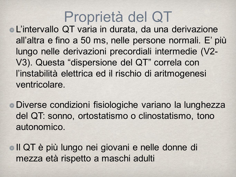 Lintervallo QT varia in durata, da una derivazione allaltra e fino a 50 ms, nelle persone normali. E più lungo nelle derivazioni precordiali intermedi