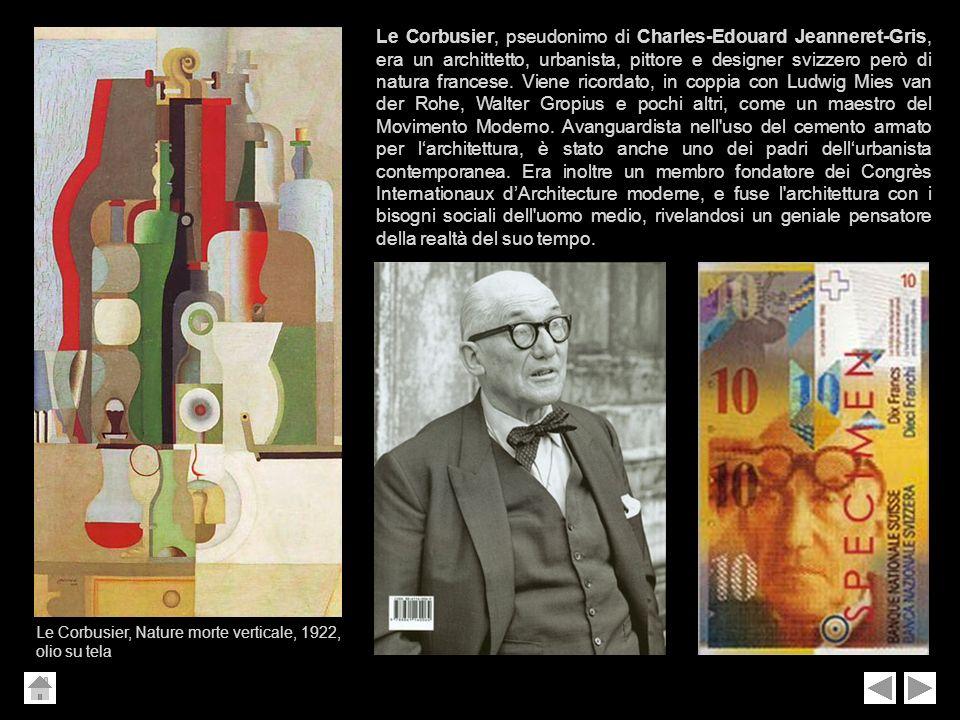 Le Corbusier, pseudonimo di Charles-Edouard Jeanneret-Gris, era un archittetto, urbanista, pittore e designer svizzero però di natura francese. Viene