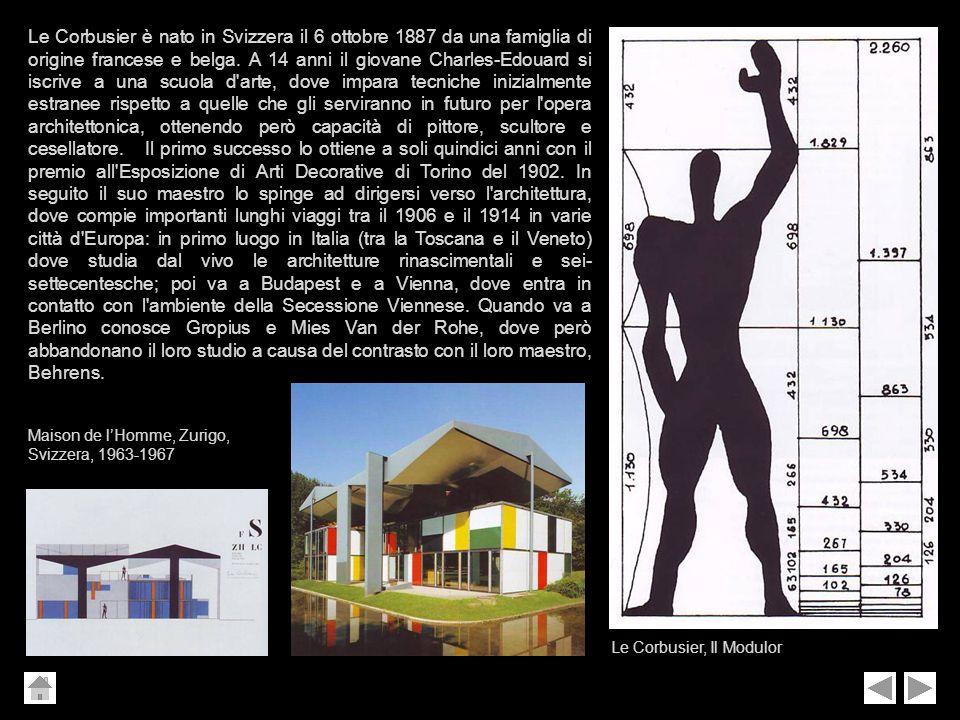 Le Corbusier è nato in Svizzera il 6 ottobre 1887 da una famiglia di origine francese e belga. A 14 anni il giovane Charles-Edouard si iscrive a una s
