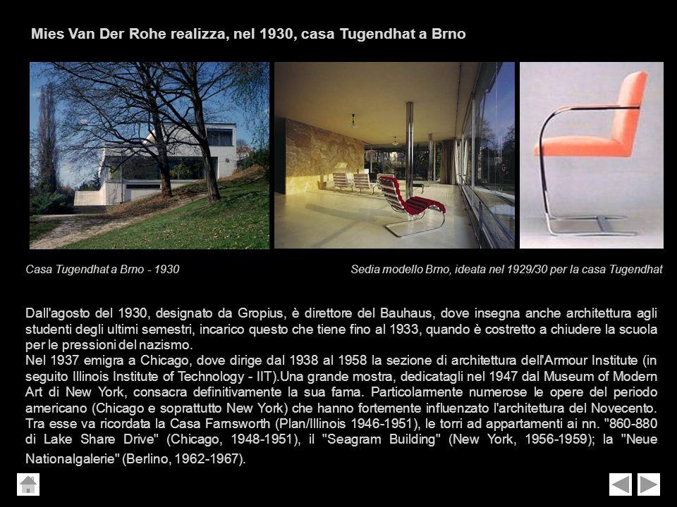 Mies Van Der Rohe realizza, nel 1930, casa Tugendhat a Brno Dall'agosto del 1930, designato da Gropius, è direttore del Bauhaus, dove insegna anche ar